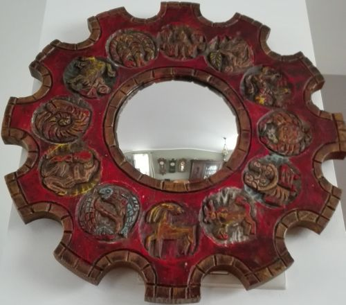 Wooden wall astrology mirror with signs of zodiac