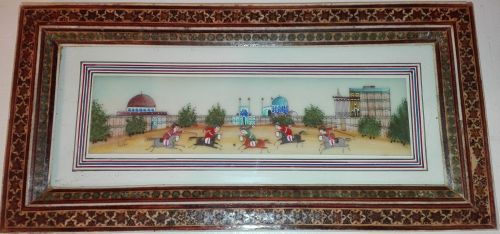 Persian hand-painted polo game watercolor miniature